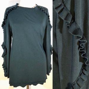 ☘️ [Lane Bryant] Dark Green Sweater w Ruffle Trim